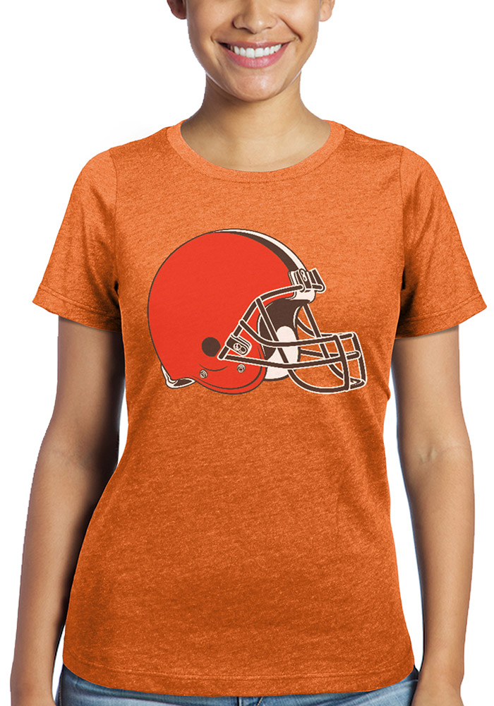 Cleveland Browns Womens Orange Triblend Crew Short Sleeve T-Shirt - Image 1