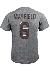 Baker Mayfield Cleveland Browns Majestic Threads Name And Number T-Shirt - Grey