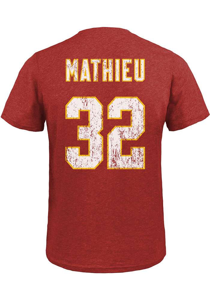 Tyrann Mathieu Kansas City Chiefs Red Name And Number Short Sleeve Fashion Player T Shirt - Image 1