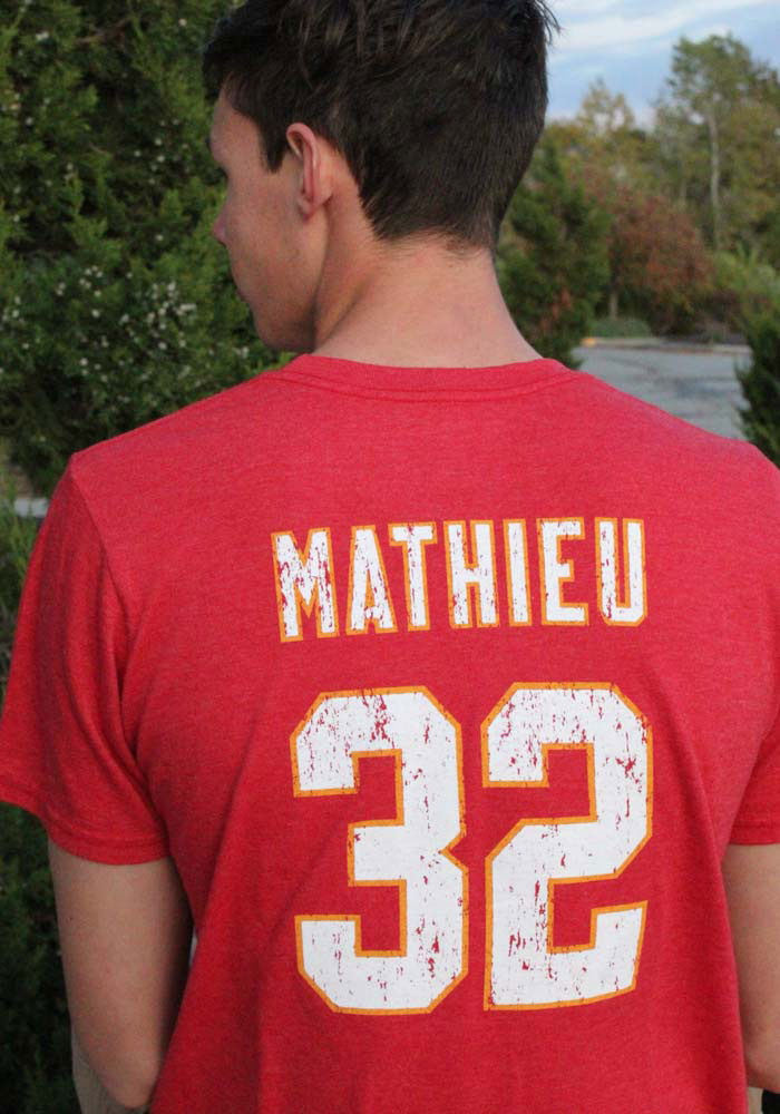 Tyrann Mathieu Kansas City Chiefs Red Name And Number Short Sleeve Fashion Player T Shirt - Image 3