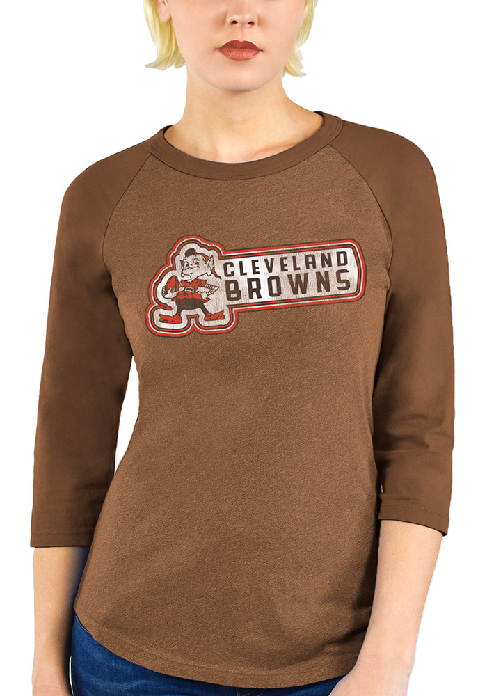 Cleveland Browns Womens Brown Out of Sight Triblend 3/4 Sleeve Raglan Crew Neck Tee LS Tee - Image 1