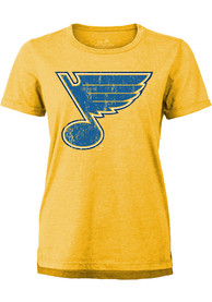 St Louis Blues Womens Triblend Crew Neck T-Shirt - Gold