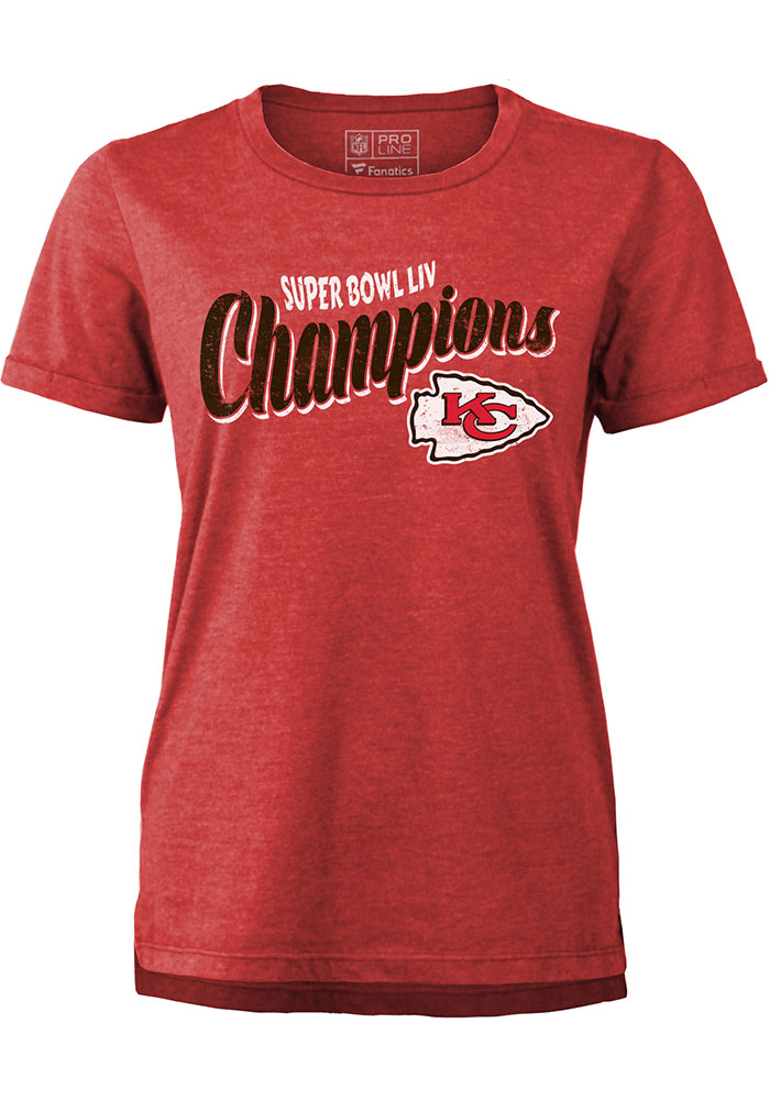 Kansas City Chiefs Womens Red Super Bowl LIV Champions Short Sleeve T-Shirt - Image 1
