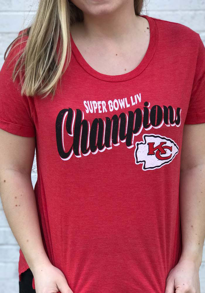 Kansas City Chiefs Womens Red Super Bowl LIV Champions Short Sleeve T-Shirt - Image 2