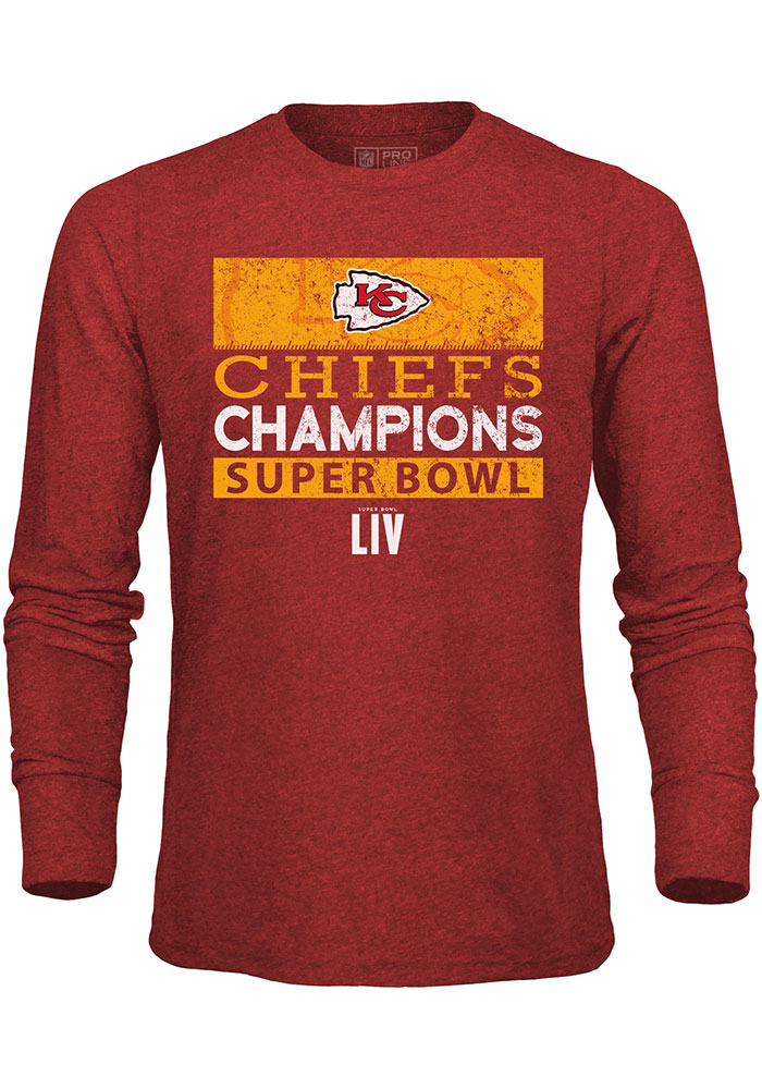 Kansas City Chiefs Red Super Bowl LIV Champions 4th And Inches Long Sleeve Fashion T Shirt - Image 1
