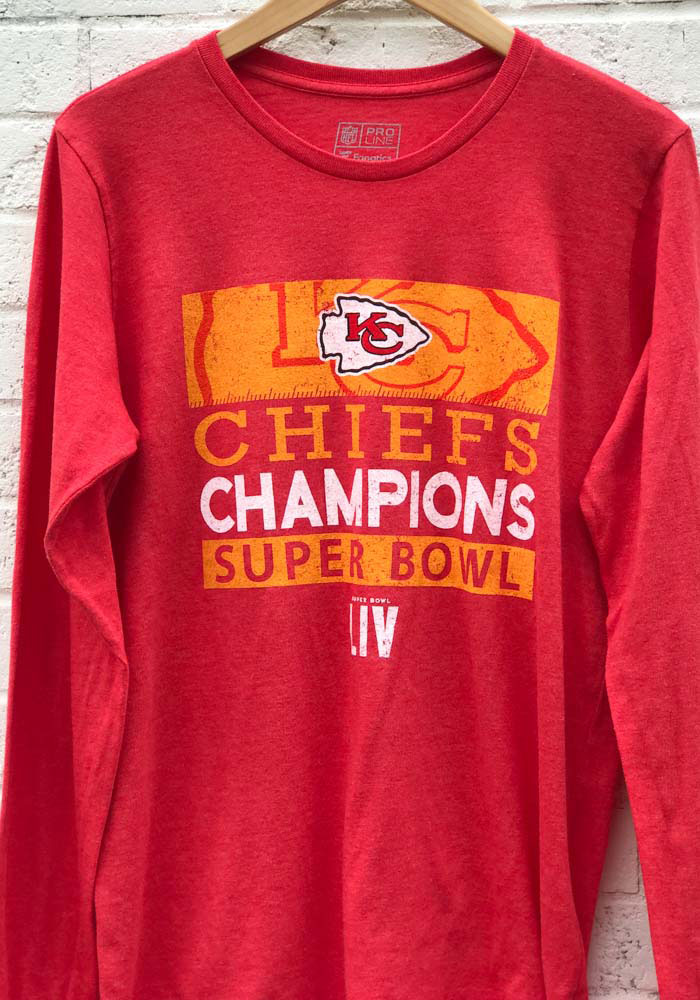 Kansas City Chiefs Red Super Bowl LIV Champions 4th And Inches Long Sleeve Fashion T Shirt - Image 2