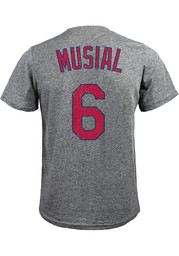 Stan Musial St Louis Cardinals Grey Name and Number Fashion Tee