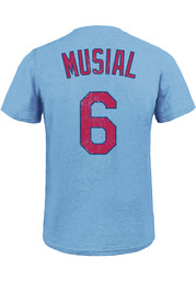 Stan Musial St Louis Cardinals Light Blue Name and Number Fashion Tee