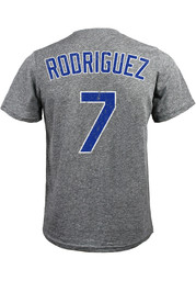 Ivan Rodriguez Texas Rangers Grey Name and Number Fashion Tee