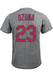 Marcell Ozuna St Louis Cardinals Grey Name and Number Fashion Tee