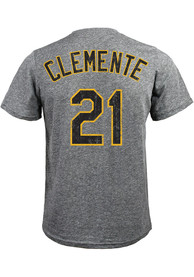 Roberto Clemente Pittsburgh Pirates Grey Name and Number Fashion Tee