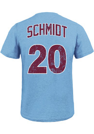 Mike Schmidt Philadelphia Phillies Light Blue Name and Number Fashion Tee