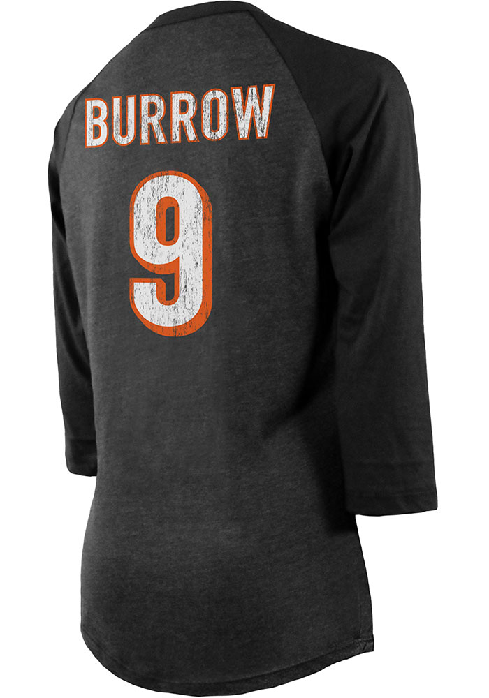 Joe Burrow Cincinnati Bengals Womens Black Triblend Long Sleeve Player T Shirt - Image 1