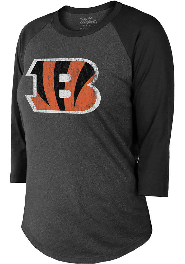 Joe Burrow Cincinnati Bengals Womens Black Triblend Long Sleeve Player T Shirt - Image 2