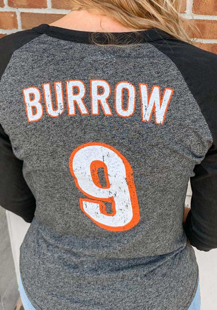 Joe Burrow Cincinnati Bengals Womens Black Triblend Long Sleeve Player T Shirt - Image 4