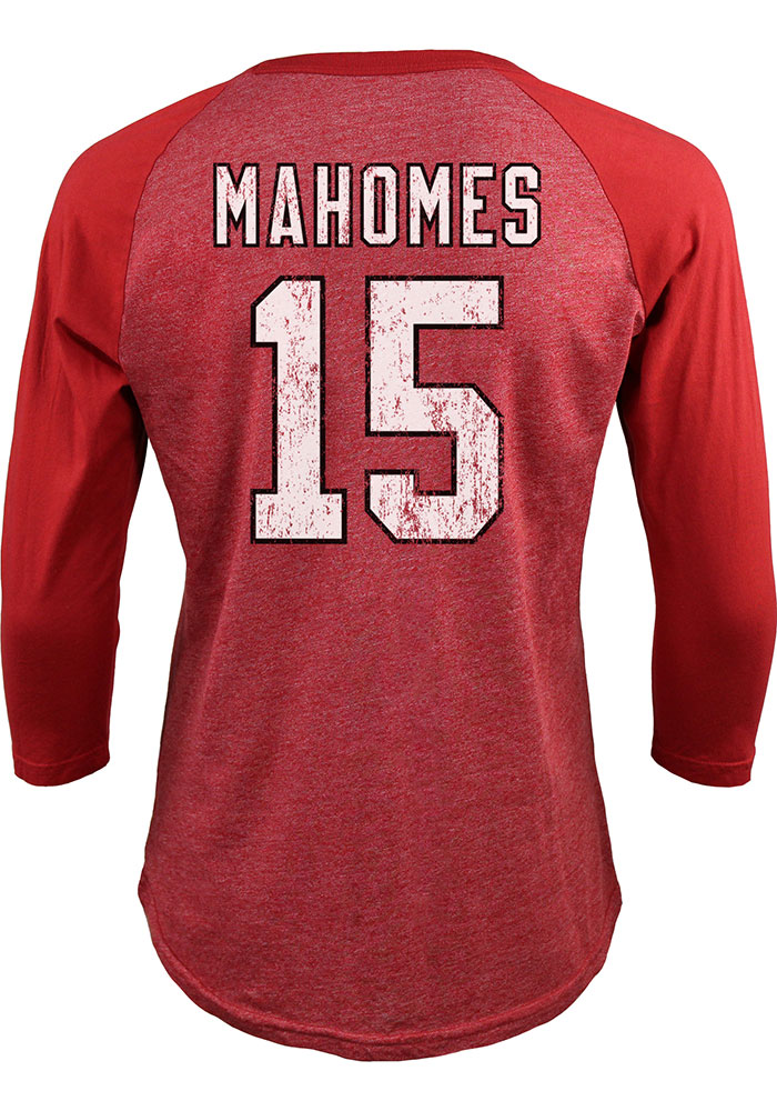 Patrick Mahomes Kansas City Chiefs Red SB LIV Champs Long Sleeve Player T Shirt - Image 1