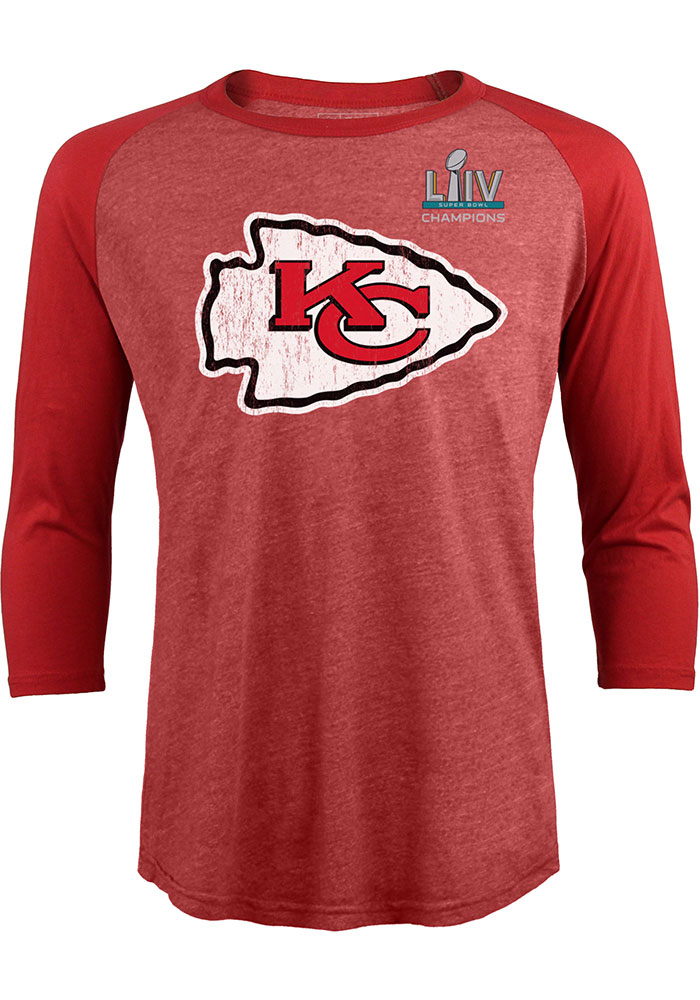 Patrick Mahomes Kansas City Chiefs Red SB LIV Champs Long Sleeve Player T Shirt - Image 2