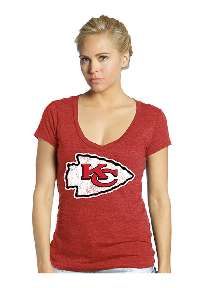 Marcus Peters Kansas City Chiefs Womens Red Tri-Blend Player T-Shirt - Image 1