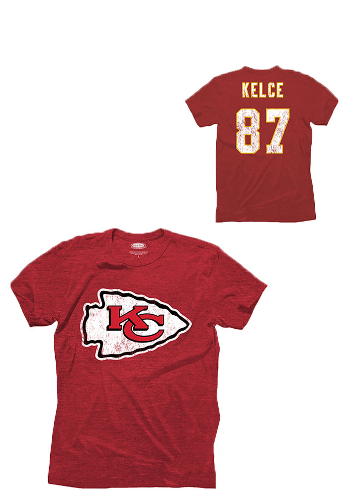 Travis Kelce Kansas City Chiefs Red Tri-Blend Short Sleeve Fashion Player T Shirt - Image 1