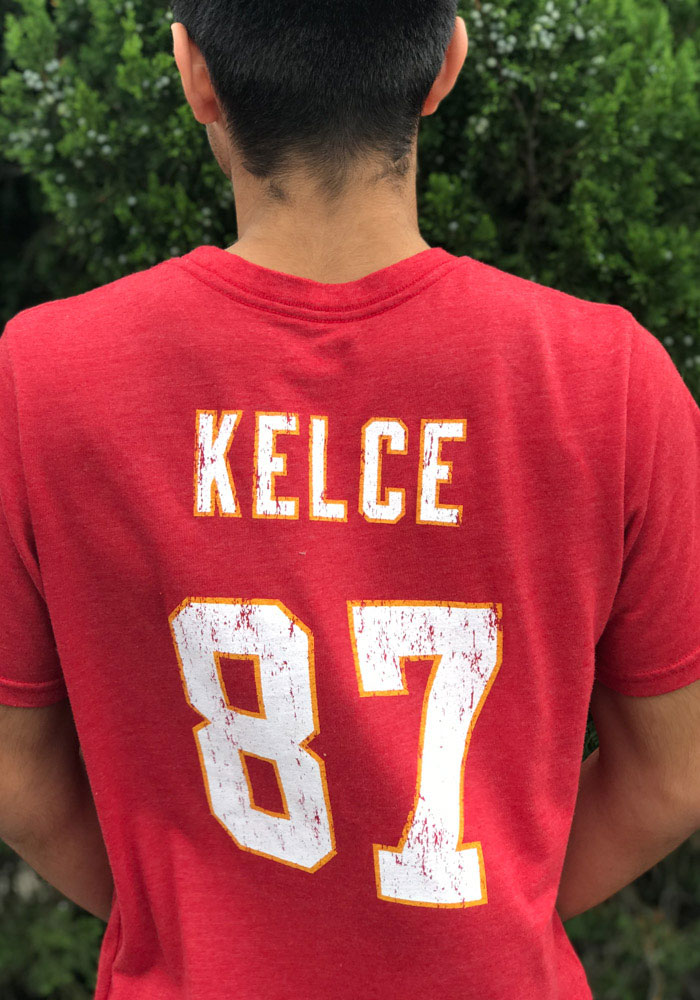Travis Kelce Kansas City Chiefs Red Tri-Blend Short Sleeve Fashion Player T Shirt - Image 2