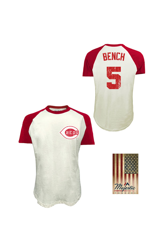 on sale a7e24 dba5b Johnny Bench Cincinnati Reds White Retired Short Sleeve Fashion Player T  Shirt