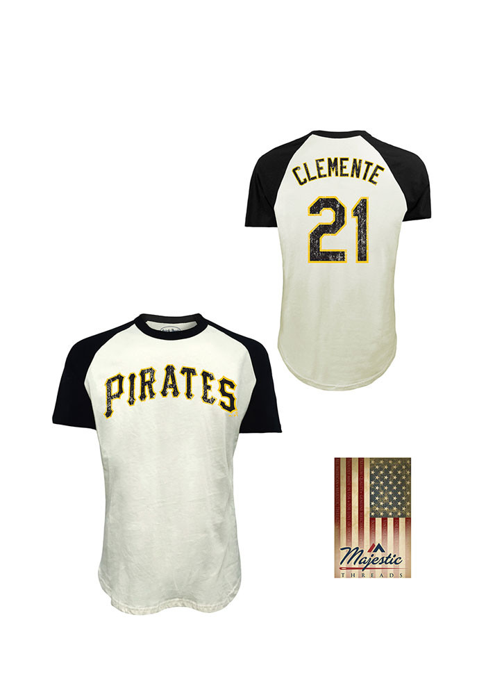 Roberto Clemente Pittsburgh Pirates Mens White Retired Short Sleeve Fashion Player T Shirt - Image 1