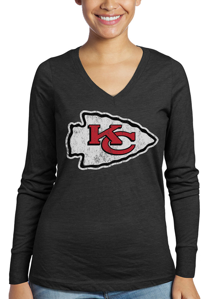 Kansas City Chiefs Womens Black Triblend LS Tee - Image 1