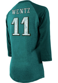 Carson Wentz Philadelphia Eagles Womens Majestic Threads Raglan Long Sleeve T-Shirt - Midnight Green