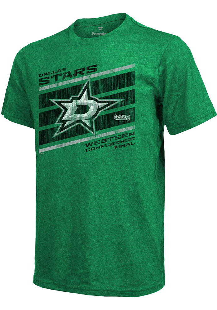 Dallas Stars Kelly Green 2020 NHL Conference Final Participant Goal Line Short Sleeve Fashion T Shirt - Image 1