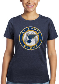 St Louis Blues Womens Triblend Crew Neck T-Shirt - Navy Blue