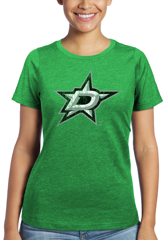 Dallas Stars Womens Green Triblend Crew Neck Short Sleeve T-Shirt - Image 1