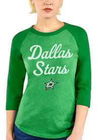 Dallas Stars Womens Triblend 3/4 Raglan Crew Neck T-Shirt - Green