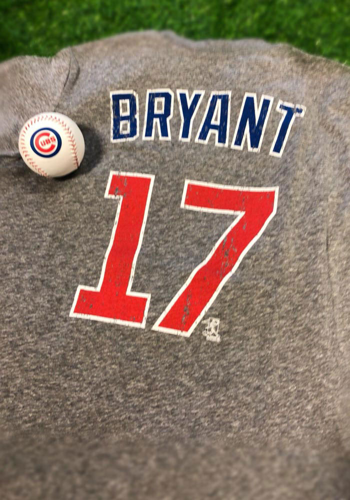 Kris Bryant Chicago Cubs Grey Distressed Short Sleeve Fashion Player T Shirt - Image 2