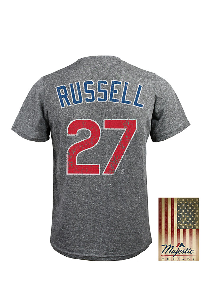 Addison Russell Chicago Cubs Grey Heather Triblend Short Sleeve Fashion Player T Shirt - Image 1
