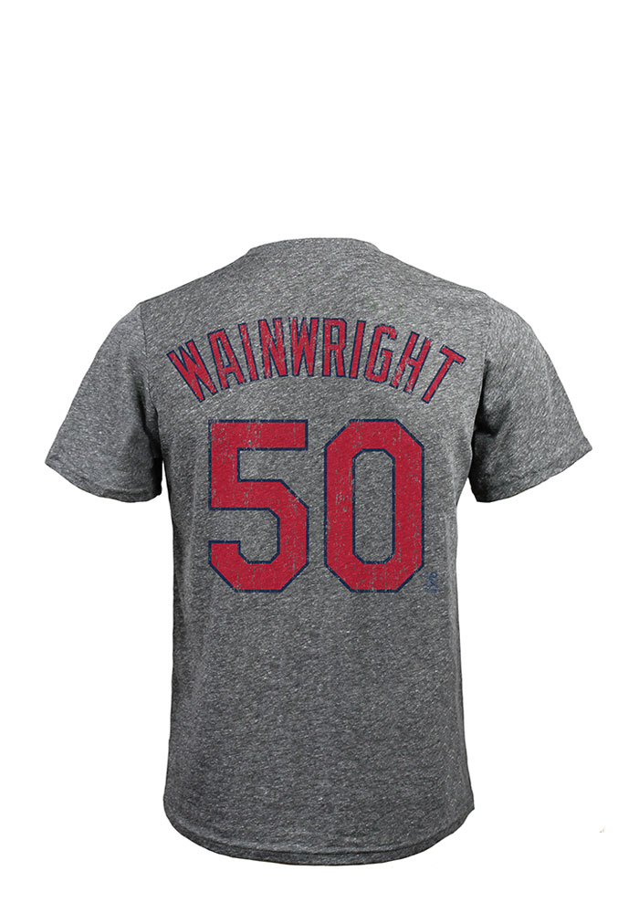 Adam Wainwright St Louis Cardinals Grey Triblend Short Sleeve Fashion Player T Shirt - Image 1