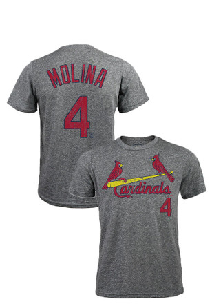 Yadier Molina St Louis Cardinals Mens Grey Distressed Fashion Player Tee