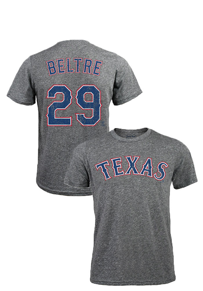 Adrian Beltre Texas Rangers Mens Grey Distressed Short Sleeve Fashion Player T Shirt - Image 1