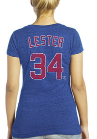 Jon Lester Majestic Threads Chicago Cubs Womens Blue Womens Triblend V-Neck Player Tee
