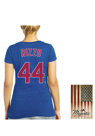Anthony Rizzo Majestic Threads Chicago Cubs Womens Blue Women's Triblend V-Neck Player Tee