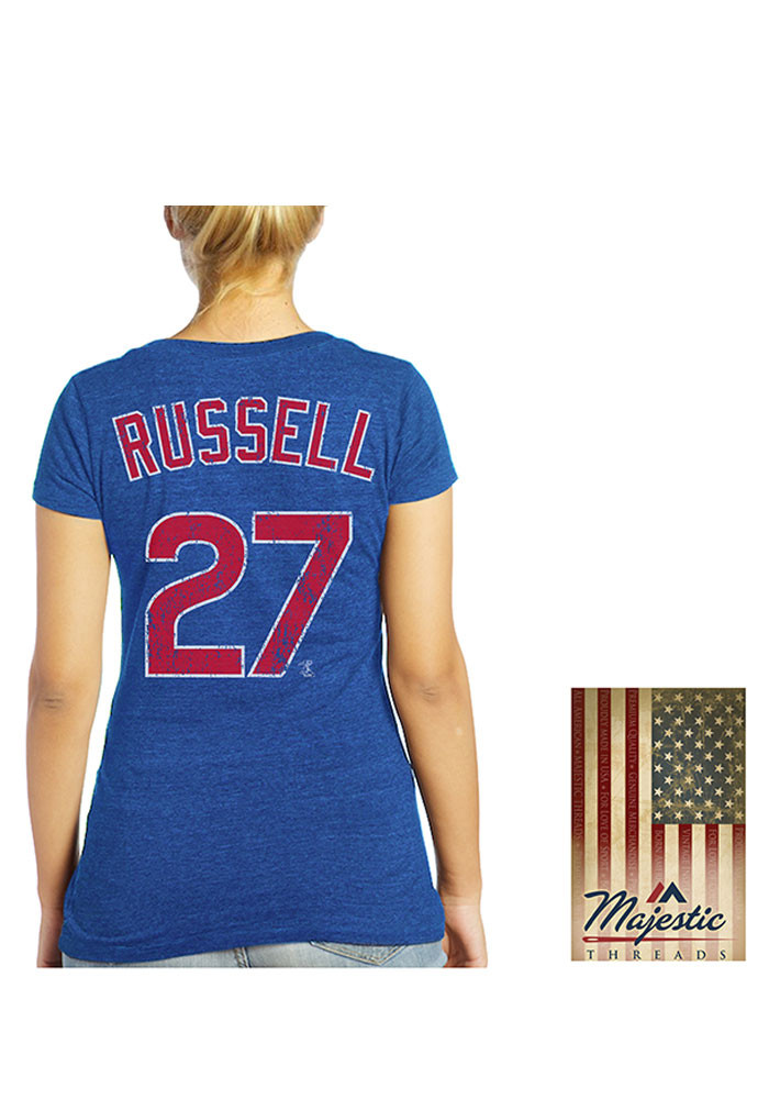 Addison Russell Chicago Cubs Womens Blue Triblend Player T-Shirt - Image 1
