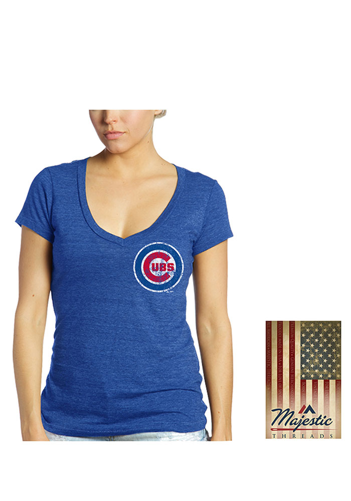 Addison Russell Chicago Cubs Womens Blue Triblend Player T-Shirt - Image 2