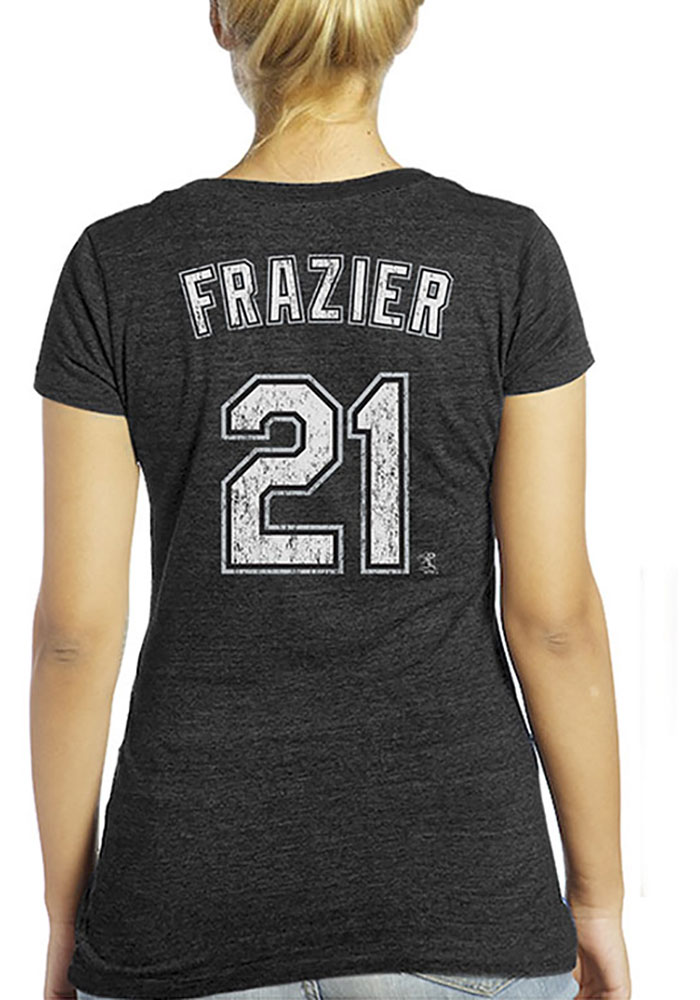 Todd Frazier Chicago White Sox Womens Black Womens Triblend V-Neck Player T-Shirt - Image 1