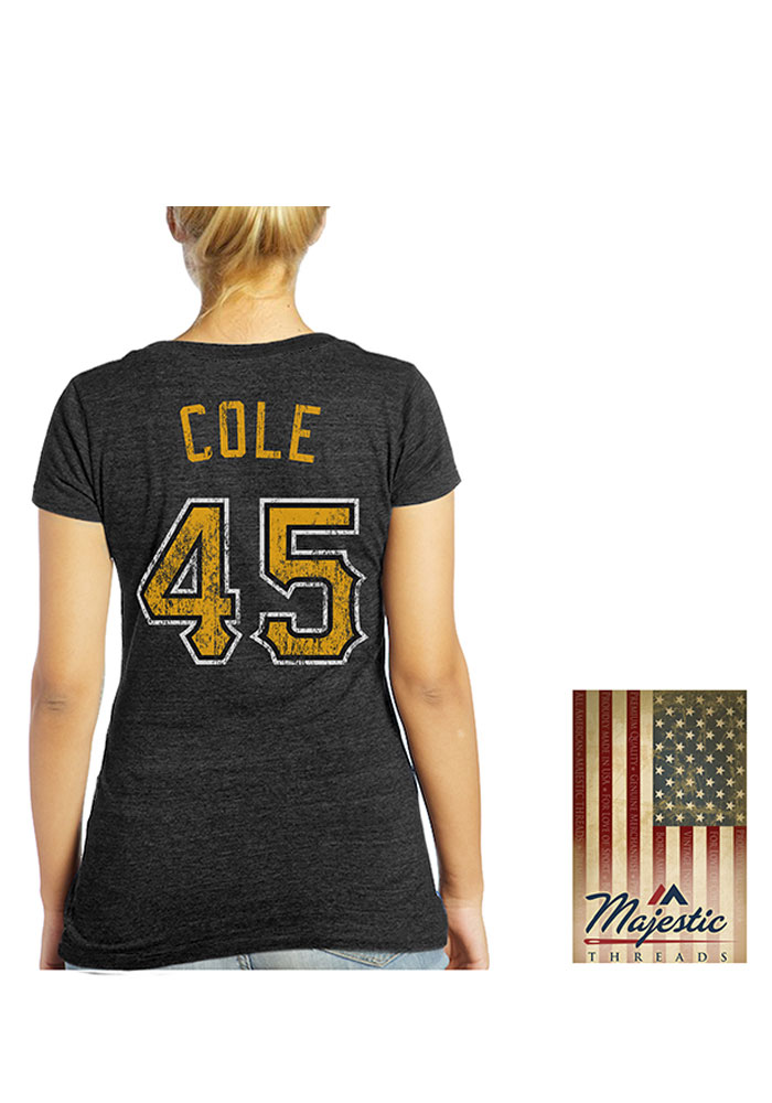 Gerrit Cole Pittsburgh Pirates Womens Blue Women's Triblend V-Neck Player T-Shirt - Image 1
