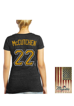 Andrew McCutchen Majestic Threads Pittsburgh Pirates Womens Blue Women's Triblend V-Neck Player Tee