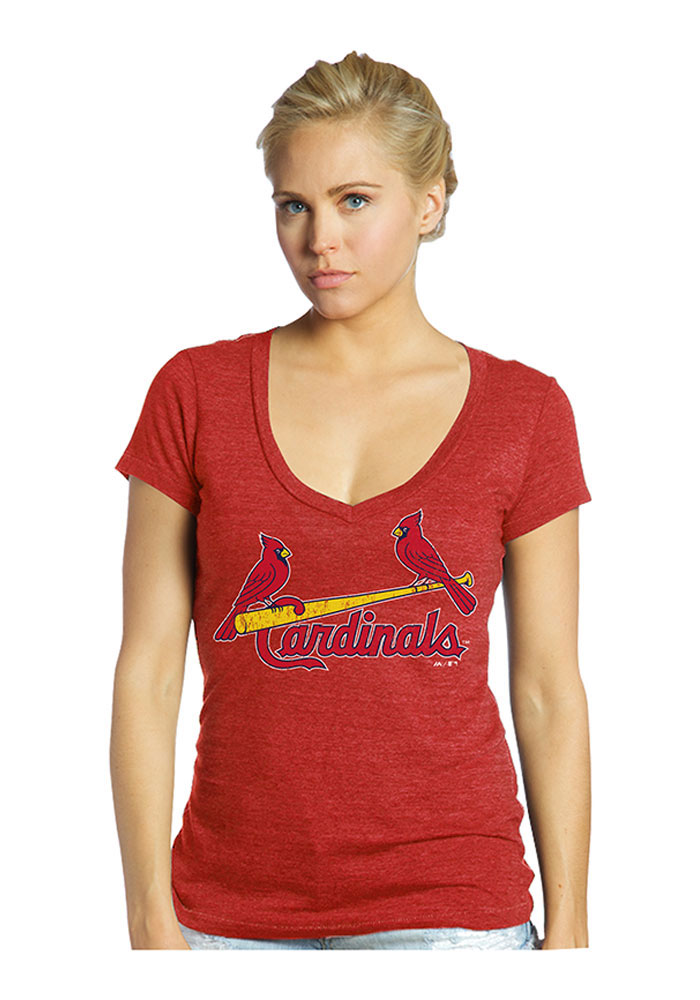 Stephen Piscotty St Louis Cardinals Womens Red Triblend V-Neck Player T-Shirt - Image 2
