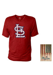 St Louis Cardinals Red Crew With Stripe Tape Tee