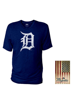 Detroit Tigers Mens Navy Blue Crew With Stripe Tape Tee