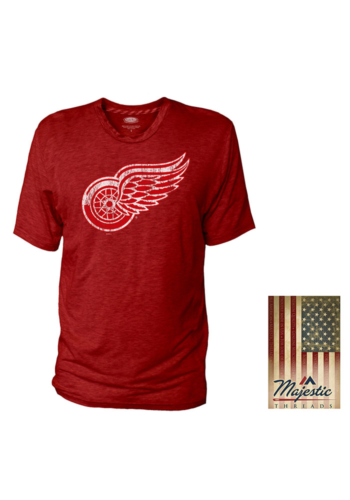 Detroit Red Wings Red Crew With Stripe Tape Short Sleeve T Shirt - Image 1