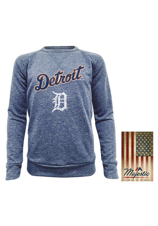 Detroit Tigers Mens Navy Blue Dyed French Terry Fashion Sweatshirt