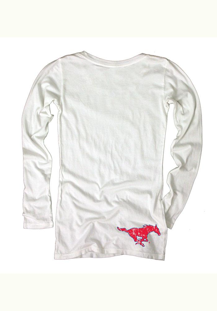 Mustangs Juniors White Dyed Long Sleeve Scoop Neck - Image 2